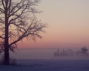 sunrise winter snow landscape photography fine art photograph home decor office decor pink sky