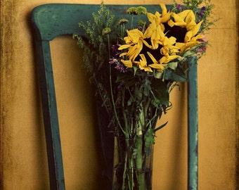 sunflowers bouquet wildflowers yellow fine art photography print home decor