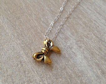 Bow Gold Charm Necklace Sterling Silver Chain Petite Ribbon Handmade Jewelry San Diego California USA by Kila Rohner