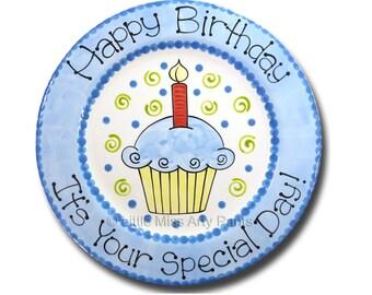 11 inch Birthday Cupcake Design Plate - Blue - NON-PERSONALIZED