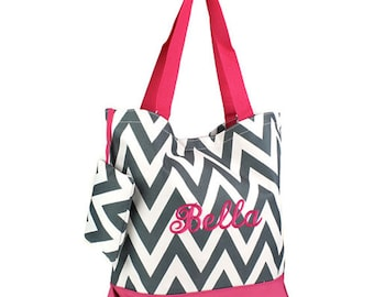 Personalized Tote Bag Gray Chevron Hot Pink  Trim Monogrammed Dance Cheer