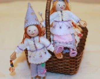 Spring Hanging Ornaments  Felt art doll Spring Pixies
