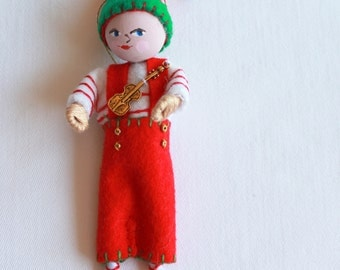 Christmas decoration Felt Art Doll, Santa's Elf with Candy Cane, Holiday Ornament