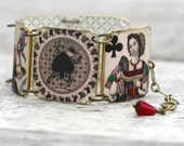 Playing Card Bracelet - Playing Card Jewelry - Deck of Cards - Vegas Jewelry - Vegas - Vegas Bracelet - Gambling - Queen of Clubs - Cards