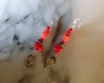 Red Coral and Bali Sterling Silver Earrings
