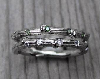 Green Diamond Branch Wedding Band: White, Yellow, or Rose Gold, 5 Diamonds