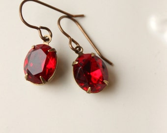 Ruby Red Rhinestone Earrings Vintage Swarovski Glass Jewels Old Hollywood Valentine Red Vintage Jewel Earrings
