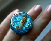 Beach Theme Jewellery, Resin Seahorse Ring, Ocean Dreamer, Resin Ring Statement Jewelry, Glitter, & Candy Pearls - Unique Giant Resort Ring