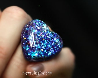 Aurora Sparkle Jewelry, glitter heart ring - adjustable size for teens to women, resin jewelry twilight blue heart ring handcrafted isewcute