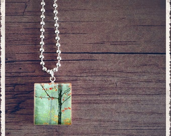 Scrabble Tile Necklace - Artistic Art Series- Whispering Trees - Scrabble Art Pendant Jewelry Charm - Customize
