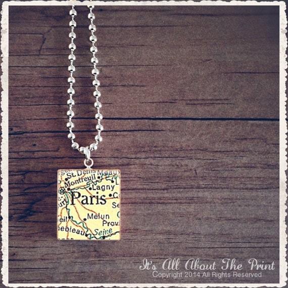 Scrabble Necklace - Paris Map 1 - Scrabble Game Tile Pendant Charm Jewelry - Customize
