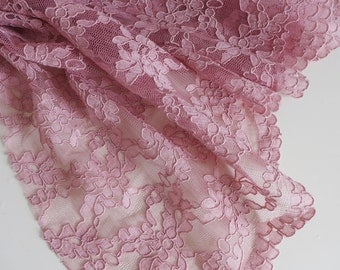 "Rose pink corded lace fabric with scalloped edge - 51"" wide - sold per metre"