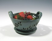 Berry Bowl Colander with saucer Hand Carved Stoneware Pottery Food Prep Cooking Kitchen Dining Entertaining
