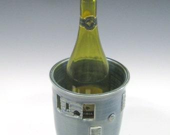 Wine Chiller, Flower Vase, Utensil Holder, Modern Wine chiller w/ geometric design, handmade pottery, home decor