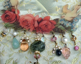 Lilygrace Roses and Doves Necklace with Rock Crystal Points, Jade, Prehenite, Chalcedony, Freshwater Pearls and Vintage Rhinestones