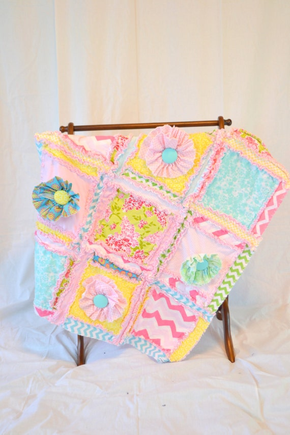 mini crib bedding baby quilt yellow turquoise pink girls. Black Bedroom Furniture Sets. Home Design Ideas