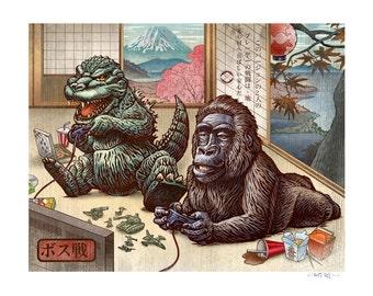Boss Battle variant 8 x 10 Godzilla King Kong Japanese style