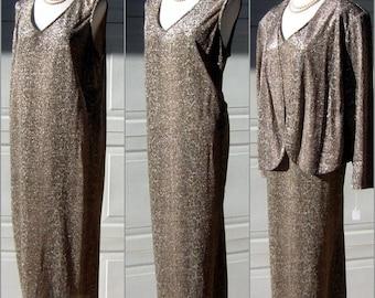 Python Print Dress XL Giorgio Sant Angelo Metallic Vintage 70s - 2 Pc Evening Gown Set Size 18