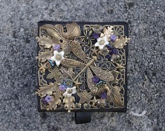 Midnight Dragonfly Garden Trinket Box