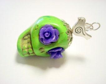 Gigantic Green Purple Rose Eyes Sugar Skull and Bird Pendant or Ornament