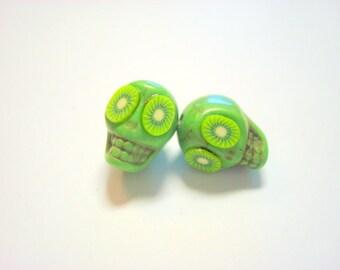 Kiwis Green Day of The Dead Sugar Skull Beads-13mm