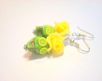 Citrus Burst Lemon and Lime Day of the Dead Roses and Sugar Skull Earrings