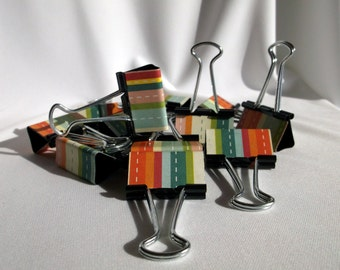 "Binder Clips - ""Stitch Stripe"" 12 medium binder clips"