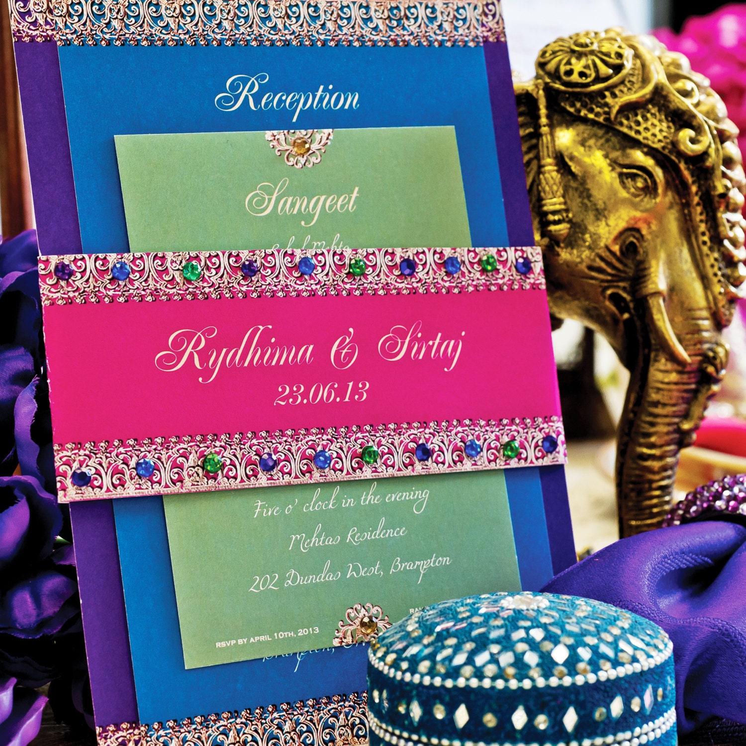 Comic Book Wedding Invitations: Bejeweled Indian Wedding Invitation Suite-SAMPLE