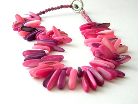 Pink Shell Stick Necklace