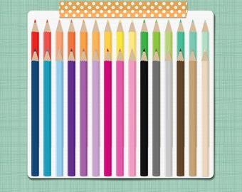 Colored Pencils Clipart Pecil Clip Art School Clip Art Teacher Classroom Clip Art Graphics - Personal & Commercial Use INSTANT DOWNLOAD