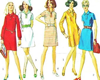 1960s Dress Pattern Simplicity 8284 Mod Collared Shift Dress Long orShort Sleeves Womens Vintage Sewing Pattern Bust 34