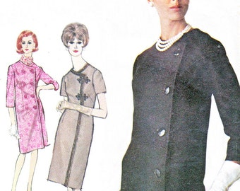 1960s Dress Pattern Simplicity 6163 Single or Double Breasted Slim Coatdress Womens Vintage Sewing Pattern Bust 32
