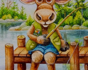 Fishing Moose Miniature Art - Limited Edition ACEO Giclee Print reproduced from the Original Watercolor