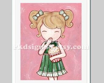 Girls room decor, baby girl nursery art, kids art illustration, children decor, popcorn, blonde - Movie Time