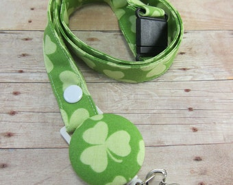St. Patrick's Day Fabric Lanyard with Retractable Badge Reel - ID Badge Holder - Shamrock