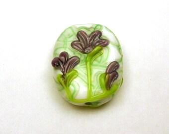 Long Stem Purple Flowers on Handmade Lampwork Focal Bead by GlassElephant