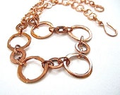 Solid Copper Chain Necklace Rustic Choker Hand Forged Hammered Metal Eco Friendly Jewelry
