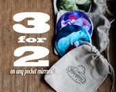 3 for 2 Pocket Mirrors | Get any THREE pocket mirror , for the price of TWO | coworker art gift, group of friends gift  | by Meluseena