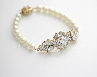 Pearl Bridal Bracelet Gold Wedding Bracelet Rhinestone Bridal Bracelet Swarovski Pearl White Ivory Vintage Wedding Jewelry KATRINA