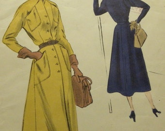 Elegant Dramatic 1950s VOGUE SPECIAL DESIGN Coat Dress Original Vintage Pattern 4034 Wow!