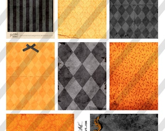 Digital Collage Sheet Victorian Halloween Orange and Black Background Images Vintage Halloween (Sheet no. O224) Instant Download