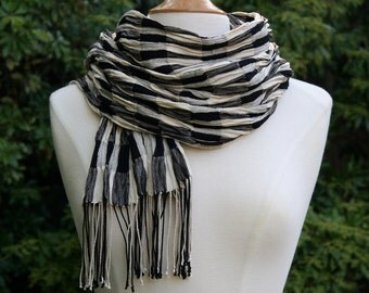 Fine Silk and Silk Crepe Collapse Weave Scarf in Black and White