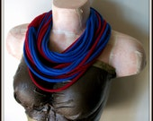 Red & Blue Infinity Multi Strand T shirt Jersey Scarf