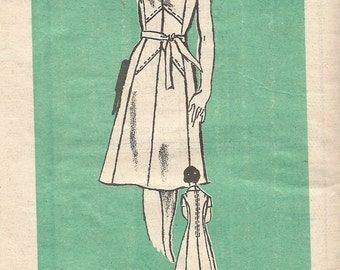 1970s Dress Pattern Vintage Half Size  Mail Order Sewing Women's Misses Size 12 .5 Bust 35 Inches
