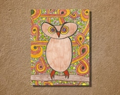 Funky 70s Owl Original Art Pencil and Ink Drawing Retro Colors 7 x10