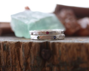 Gem stone wider band personalized stackable stacking ring ...hand stamped fine silver stacking rings.