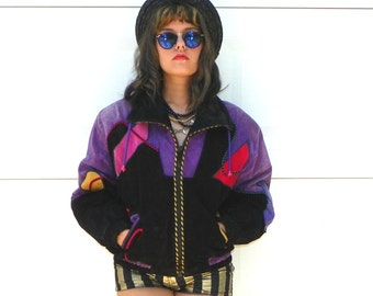 SALE 1980s Vintage Suede Bomber Jacket Genuine Leather Suede Black Red Purple Patchwork Windbreaker with Drawstrings and Pockets Size Large