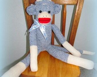 BLUE Sock Monkey Doll, Rockford Socks, New, Handmade