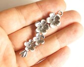 2pcs Matte Silver Plated Base Flower Branch Charms -Branch 50x15mm (409-015SP)