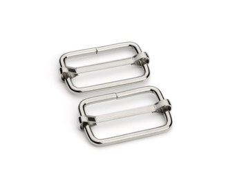 "10pcs - 1 1/4"" Adjustable Slide Buckle - Nickel - Free Shipping (SLIDE BUCKLE SBK-120)"